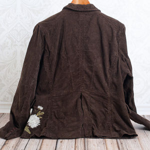 Johnny Was Jackets & Coats - JOHNNY WAS  Corduory Embroidered Brown Blazer